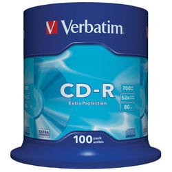 Диск CD-R Verbatim 700Mb 52x DataLife Cake Box (100 шт) (43411)