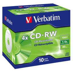 Диск CD-RW Verbatim 700Mb 2x-4x Jewel case (10 шт) (43123)