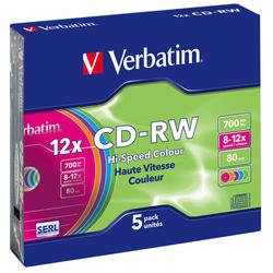 Диск CD-RW Verbatim 700Mb 12x DataLife+ Slim Color (5 шт) (43167)
