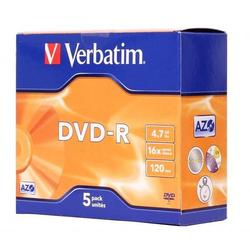 Диск DVD-R Verbatim 4.7Gb 16x Jewel Case (5 шт) (43519)