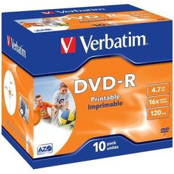 Диск DVD-R Verbatim 4.7Gb 16x Jewel Case Printable (10 шт) (43521)