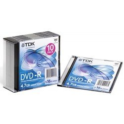 Диск TDK DVD-R 4.7Gb 16x Slim Jewel Case (10 шт) (t19420) (DVD-R47SCED10-L)