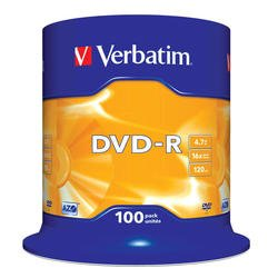 Диск DVD-R Verbatim 4.7Gb 16x Cake Box (100 шт) (43549)