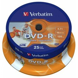 Диск DVD-R Verbatim 4.7Gb 16x Cake Box Printable (25 шт) (43538)