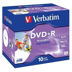 Диск DVD+R Verbatim 4.7Gb 16x Jewel Case Printable (10шт) (43508)