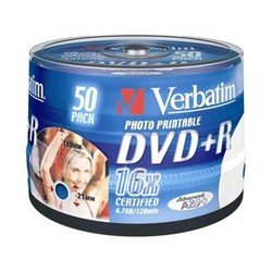 Диск DVD+R Verbatim 4.7Gb 16x Cake Box InkJet Printable (50шт) (43512)