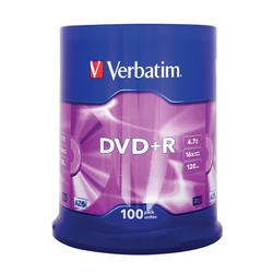 Диск DVD+R Verbatim 4.7Gb 16x Cake Box (100шт) (43551)