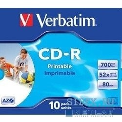 Диск CD-R Verbatim Printable Surface 700Mb 80 мин  52-x Jewel Case (10шт.) (43325)
